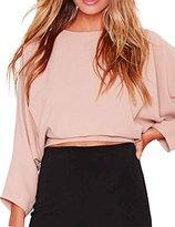HaoDuoYi Womens Solid Crop Tie Back Long Sleeve Tops T Shirt(XXL,)