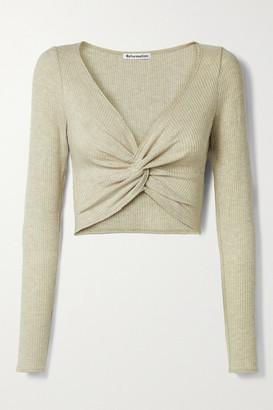 Reformation Loch Cropped Twist-front Ribbed Stretch-tencel Modal Top - Beige