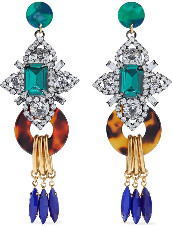 Elizabeth Cole Edwina 24-karat Gold And Hematite-plated Swarovski Crystal, Acetate And Stone Earrings