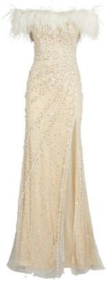 Jovani Embellished Off-The-Shoulder Gown