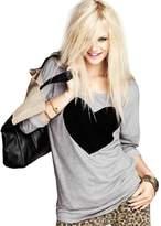 Changeshopping Fashion Women Love Heart Printed Long Sleeved Round Neck Shirt