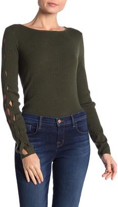 Love Token Lattice Sleeve Ribbed Knit Sweater