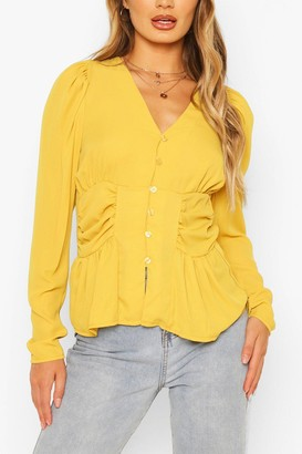 boohoo Woven Ruched Button Through Blouse