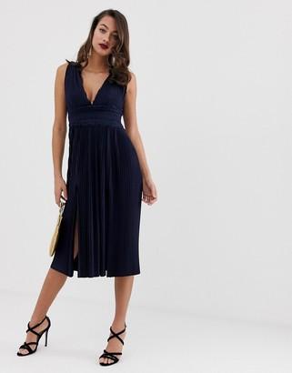 Asos Design DESIGN premium lace insert pleated midi dress
