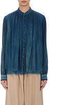Pas De Calais Women's Mandarin-Collar Shirt-BLUE