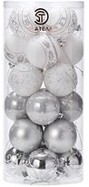 "Sea Team 60mm/2.36"" Delicate Contrast Color Theme Painting & Glittering Christmas Tree Pendants Decorative Hanging Christmas Baubles Balls Ornaments Set - 24 Pieces (Silver & White)"