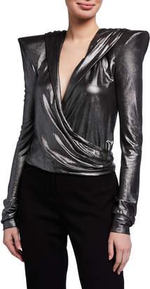 Balmain Hooded Strong-Shoulder Metallic Wrap Top