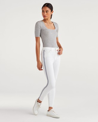 7 For All Mankind High Waist Ankle Skinny with Blue and White Stripe at Seams in White Runway