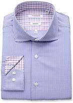 Isaac Mizrahi Men's Slim Fit Check Cut Away Collar Dress Shirt