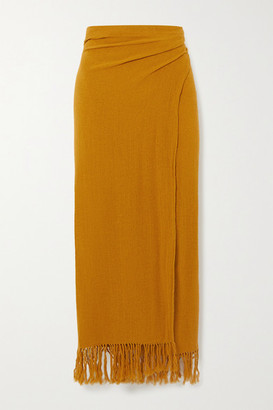 Savannah Morrow The Label The Desert Fringed Ramie Wrap Midi Skirt - Mustard