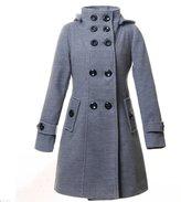KMFEEL Women's Wool Blend Double Breasted Long Jacket Hood Coat Grey