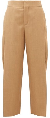 Chloé Single-pleat Cropped Wool Trousers - Brown
