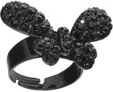 Body Candy Black Sparkling Butterfly Adjustable Ring