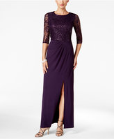 Alex Evenings Sequined Lace Draped Column Gown
