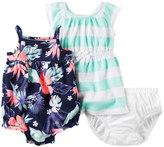Carter's Baby Girl Floral Romper & Striped Dress Set