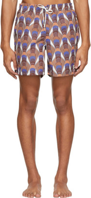 Bather Orange Geometric Art Deco Swim Shorts