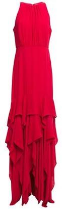 Halston Asymmetric Ruffled Gathered Crepe Gown