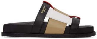 Burberry Black and Beige Ellendale Flat Sandals