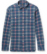Polo Ralph Lauren Checked Brushed Linen And Cotton-blend Twill Shirt - Blue