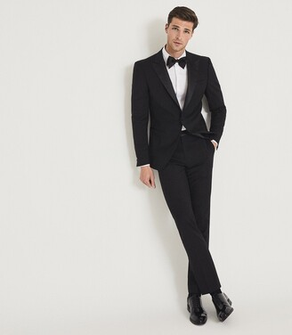 Reiss POKER PERFORMANCE MODERN FIT TUXEDO TROUSERS Black