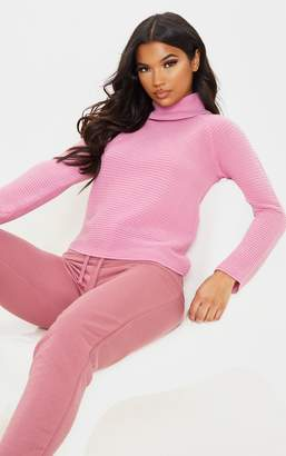 PrettyLittleThing Pink Ribbed Oversized Knit Jumper