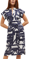 Jaeger Linen Brushstroke Belt Dress, Navy/Ivory
