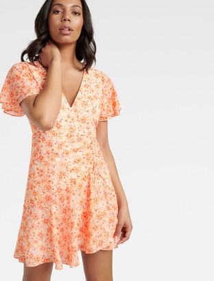 Forever New Joanna Ruched Mini Dress - Apricot Harvest Botanical - 10