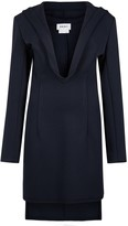 DKNY Navy Hooded Stretch-knit Mini Dress