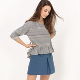 Esprit Cotton Striped Blouse with Ruffles