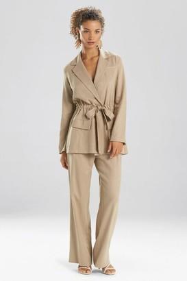 Natori Solid Linen Belted Jacket
