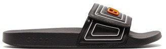 Gucci Logo Leather And Rubber Slides - Black