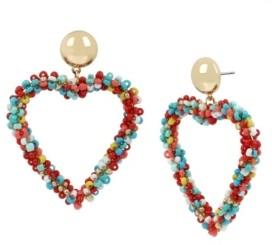 Jessica Simpson Woven Beaded Heart Gold-Tone Drop Earrings