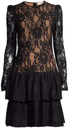 MICHAEL Michael Kors Floral Lace Mesh Ruffle Dress