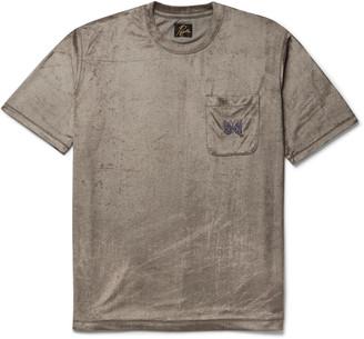 Needles Logo-Embroidered Velour T-Shirt
