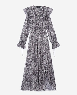 The Kooples Long black dress with floral print