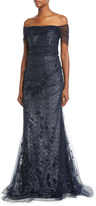 Rickie Freeman For Teri Jon Metallic Lace Off-the-Shoulder Mermaid Evening Gown