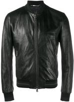 Dolce & Gabbana leather bomber jacket - men - Cotton/Lamb Skin/Leather/Viscose - 48