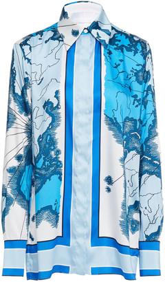 Victoria Victoria Beckham Printed Crepe De Chine Shirt