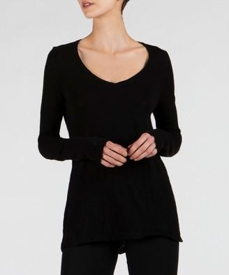 Slub Jersey Long Sleeve V-Neck Tee - Black