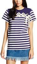 House of Holland Women's Striped Lacing Front Tshirt Short Sleeve T-Shirt