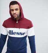 Ellesse 1/4 Zip Hoodie With Large Logo In Red