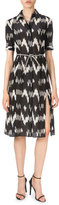 Altuzarra Short-Sleeve Belted Ikat-Print Shirtdress, Black/White