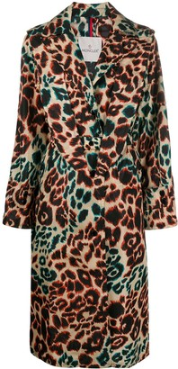 Moncler Leopard Print Trench Coat