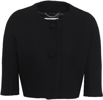 Moschino Cropped Wool-blend Crepe Jacket