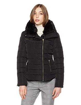 Royal Matrix Women's Asymmetrical Removable Faux Fur Collar Down Jacket with Buckle on Neck (