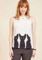 ModCloth Just Kitten Around Sleeveless Top in L