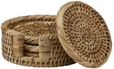 The French Chefs Set of 4 Rattan Coasters with Holder