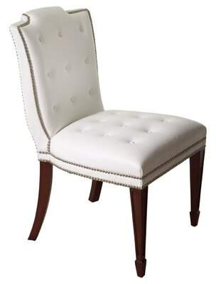 Global Views Be Seated in Chic Comfort Tufted Leather Upholstered Side Chair