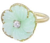Irene Neuwirth Carved Green Opal Flower Ring