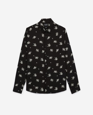 The Kooples Long black shirt with floral print